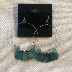 Turquoise Abalone & Bead Hoop Dangle Earrings
